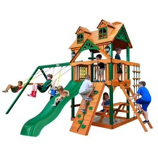 Gorilla Playsets Chateau Cedar Swing Set with Malibu Wood Roof and Timber Shield Posts