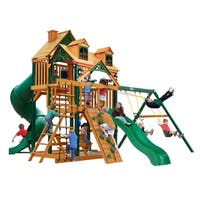 Gorilla Playsets Great Skye I Cedar Swing Set with Malibu Wood Roof and Timber Shield Posts