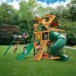 Gorilla Playsets Mountaineer Cedar Swing Set with Malibu Wood Roof and Timber Shield Posts