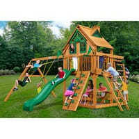 Gorilla Playsets Navigator Treehouse Cedar Swing Set with Natural Cedar Posts