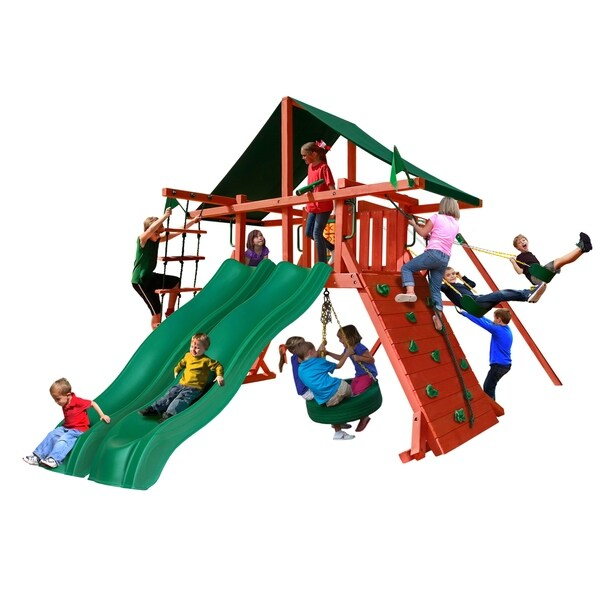 Gorilla Playsets Sun Climber Extreme Cedar Swing Set with Sunbrella Canvas Forest Green Canopy