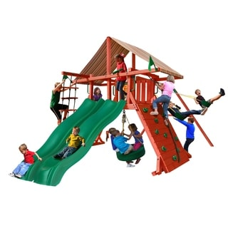 Gorilla Playsets Sun Climber Extreme Swing Set with Sunbrella Brannon Redwood
