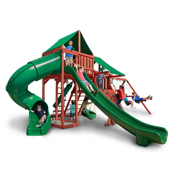 Gorilla Playsets Sun Valley Deluxe Wooden Swing Set With Green Vinyl Canopy