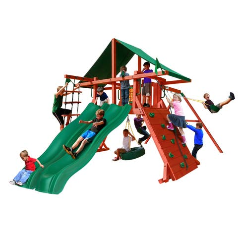 Gorilla Playsets Sun Valley Extreme Wooden Swing Set with 2 Slides - Redwood