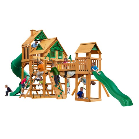 Gorilla Playsets Treasure Trove I Treehouse Swing Set with Natural Cedar Posts