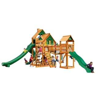 Gorilla Playsets Treasure Trove II Treehouse Cedar Swing Set with Natural Cedar Posts