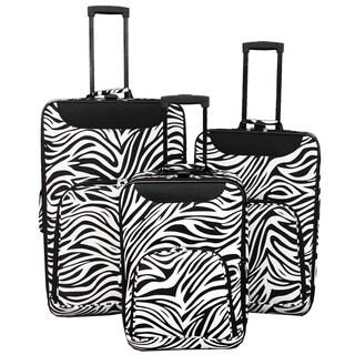World Traveler Vogue Zebra Expandable 3-piece Wheeled Upright Luggage