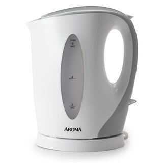 Aroma AWK-105 1.7-Liter Electric Kettle, White/Grey