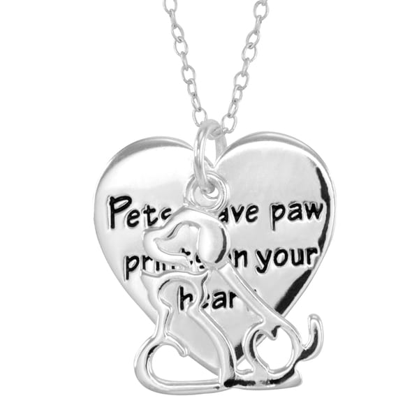 Silver Overlay Dog and Cat Heart Necklace