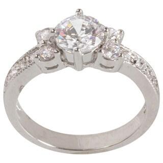 NEXTE Jewelry Rhodium-plated Cubic Zirconia 3-stone Engagement-style Ring