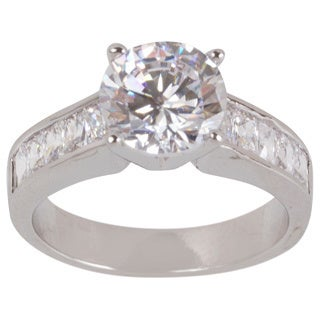 NEXTE Jewelry Rhodium-plated Deep 'V' Cubic Zirconia Solitaire Ring