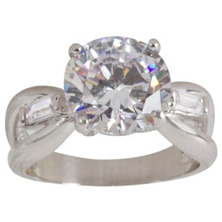 NEXTE Jewelry Rhodium-plated Arena Set Cubic Zirconia Solitaire Ring