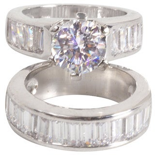 NEXTE Jewelry Rhodium-plated Cubic Zirconia Wide Band Bridal Ring Set