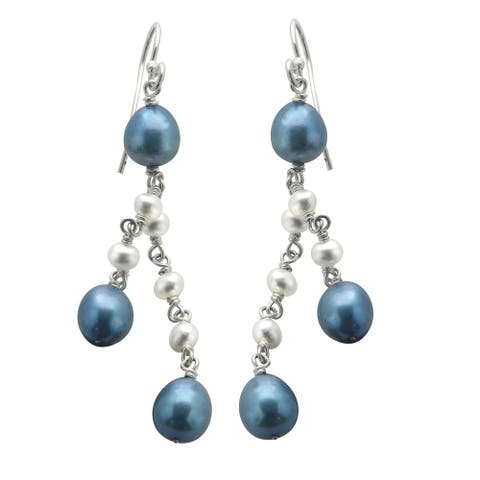 Sterling Silver Blue and White Freshwater Pearl Dangle Earrings (3-4 mm, 7-8 mm)