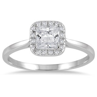 Marquee Jewels 14k white gold 7/8ct TDW Diamond Halo Engagement Ring