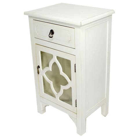 Heather Ann Single Drawer, Single Door Cabinet with Glass Insert