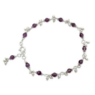 Handmade Sterling Silver 'Purple Splendor' Amethyst Anklet (India)