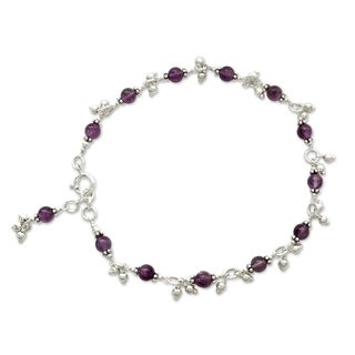 Handmade Sterling Silver 'Purple Splendor' Amethyst Anklet (India)