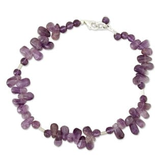 Handmade Sterling Silver 'Mystic Dancer' Amethyst Anklet (India)