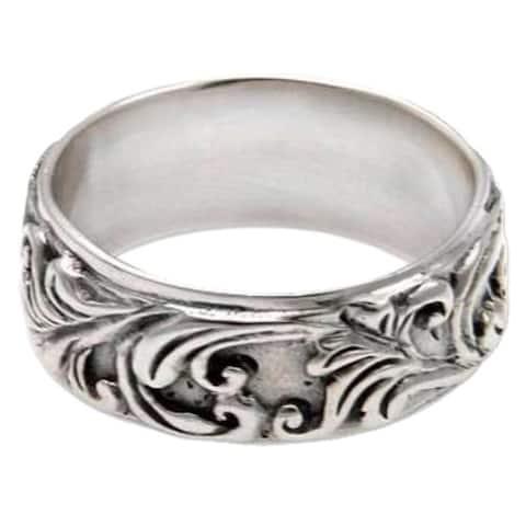 Handmade Sterling Silver 'Flourishing Foliage' Ring (Indonesia)