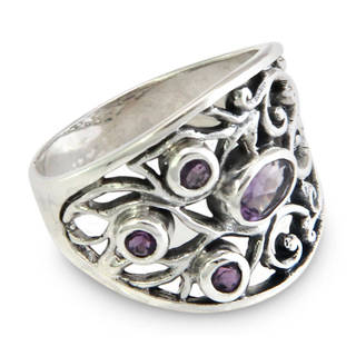 Handcrafted Sterling Silver 'Tree of Life' Amethyst Ring (Indonesia)