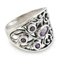 Handmade Sterling Silver 'Tree of Life' Amethyst Ring (Indonesia)