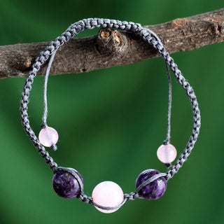 Handcrafted Rose Quartz Charoite 'Serene Joy' Bracelet (India)