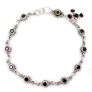 Handmade Sterling Silver 'Scarlet Sun Blossoms' Garnet Anklet (India)