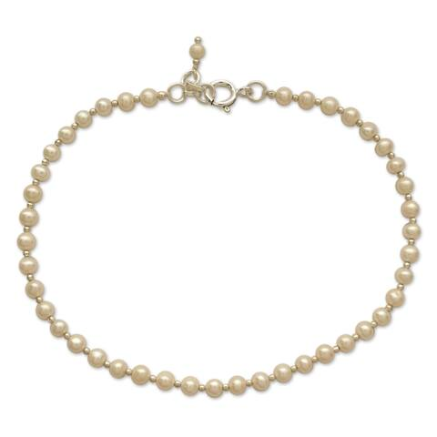 Handmade Sterling Silver 'Moon Dew' Pearl Anklet (4 mm) (India)