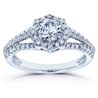 Annello by Kobelli 14k White Gold 4/5ct TDW Round Diamond Engagement Ring