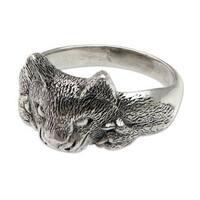 Handmade Men's Sterling Silver 'Feisty Ocelot' Ring (Indonesia)