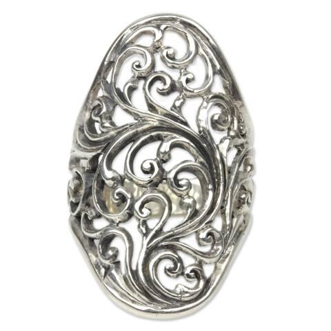 NOVICA Handmade Sukawati Fern Sterling Silver Ring (Indonesia)