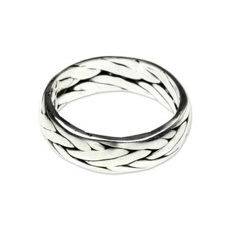 Singaraja Weave Handmade Classic Vintage Style Men's Clothing Accessory Accent Braided Sterling Silver Jewelry Ring (Indonesia)