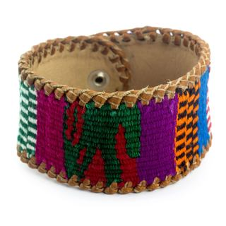 Handcrafted Men's Leather 'Joy' Cotton Bracelet (Guatemala)