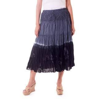 Handmade Cotton 'Gray Boho Chic' Batik Skirt (Thailand)