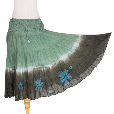 Handmade Cotton 'Green Boho Chic' Batik Skirt (Thailand)