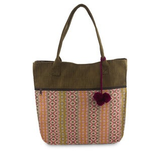 Handcrafted Cotton 'Quiet Maya Rose' Tote Handbag (Guatemala)