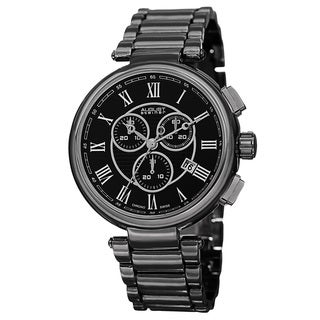 August Steiner Men's Swiss Quartz Chronograph Black Bracelet Watch