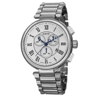 August Steiner Men's Swiss Quartz Chronograph Silver-Tone Bracelet Watch