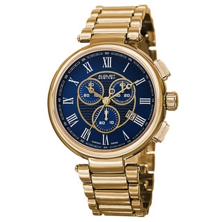 August Steiner Men's Swiss Quartz Chronograph Gold-Tone Bracelet Watch