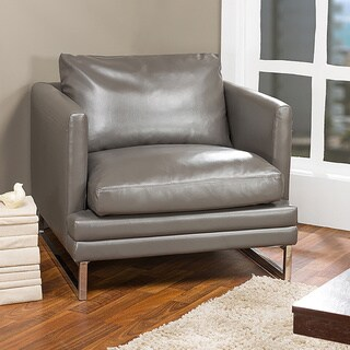Dakota Pewter Gray Leather Modern Chair