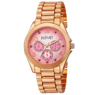 August Steiner Women's Quartz Colorful Dial Multifunction Rose-Tone Bracelet Watch