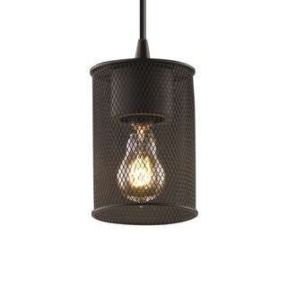 Justice Design Group Wire Mesh Circa 1-light Matte Black Pendant, Cylinder w/ Flat Rim Shade