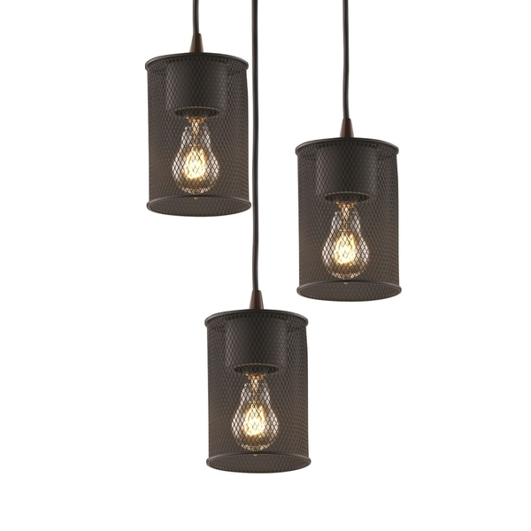 Justice Design Group Wire Mesh Circa 3-light Matte Black Pendant ...