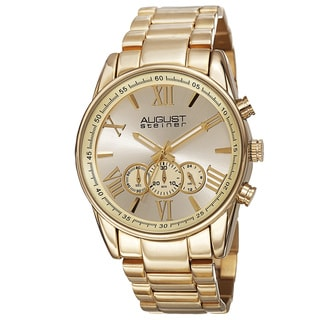 August Steiner Men's Quartz Chronograph Stainless Steel Gold-Tone Bracelet Watch