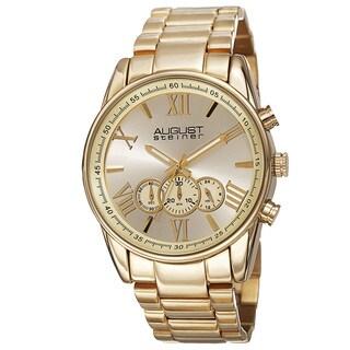 August Steiner Men's Quartz Chronograph Stainless Steel Gold-Tone Bracelet Watch