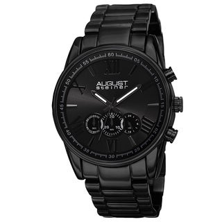 August Steiner Men's Quartz Chronograph Stainless Steel Black Bracelet Watch