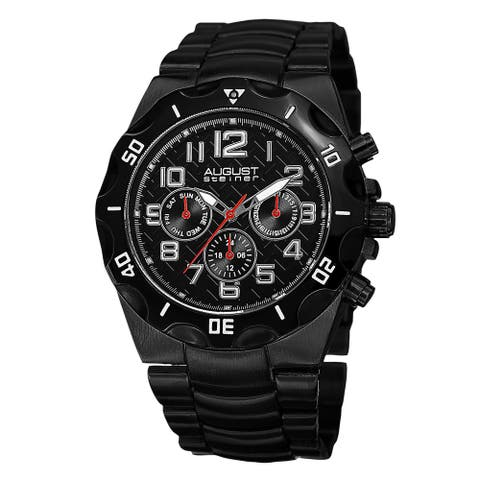 August Steiner Men's Swiss Quartz Multifunction Dual-Time Black Bracelet Watch