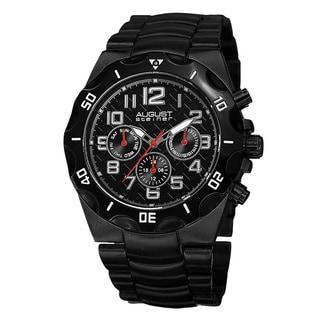 August Steiner Men's Swiss Quartz Multifunction Dual-Time Black Bracelet Watch