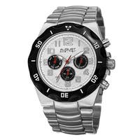 August Steiner Men's Swiss Quartz Multifunction Dual-Time Silver-Tone Bracelet Watch